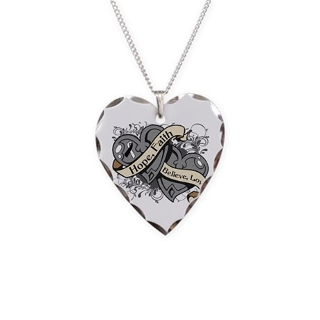 Carcinoid Cancer Hope Hearts Necklace Heart Charm