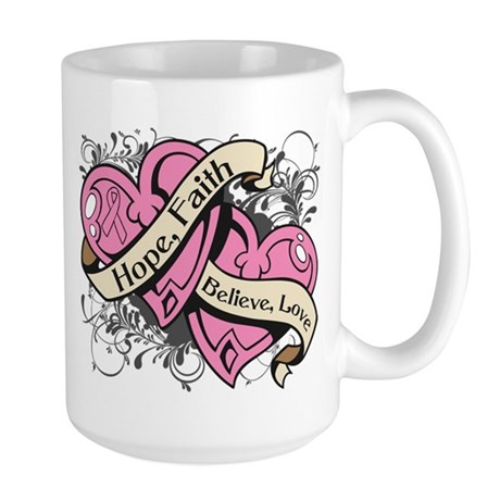 Breast Cancer Hope Hearts Large Mug