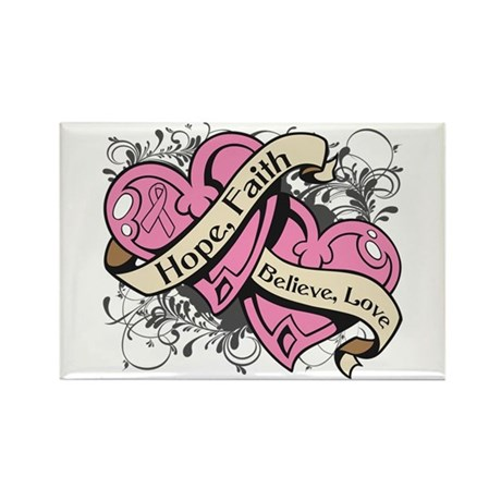 Breast Cancer Hope Hearts Rectangle Magnet