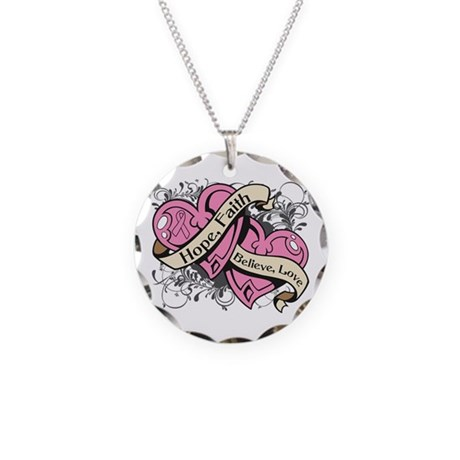 Breast Cancer Hope Hearts Necklace Circle Charm