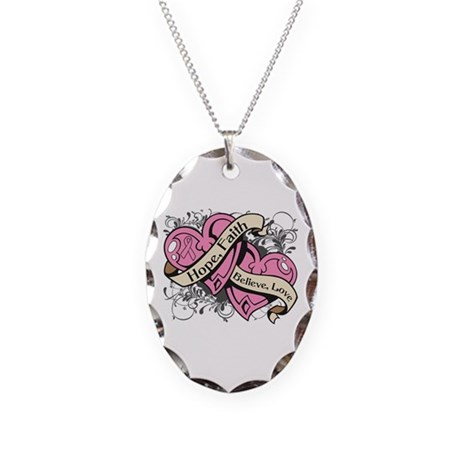 Breast Cancer Hope Hearts Necklace Oval Charm