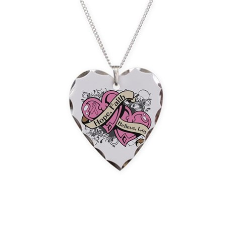 Breast Cancer Hope Hearts Necklace Heart Charm