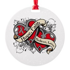 Brain Tumor Hope Hearts Ornament