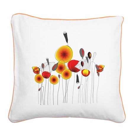 Contemporary California Poppies Square Canvas Pill