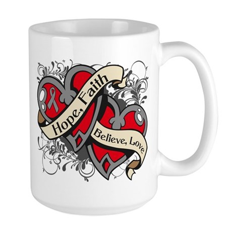 Brain Cancer Hope Hearts Large Mug