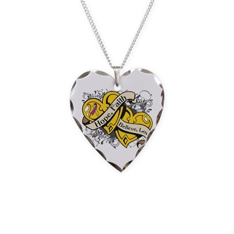 Bladder Cancer Hope Hearts Necklace Heart Charm