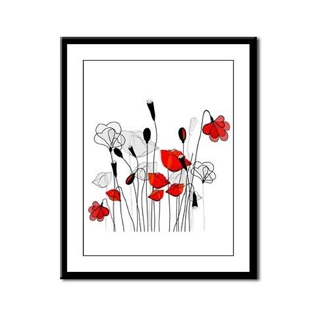 Whimsical Red Poppies Framed Panel Print