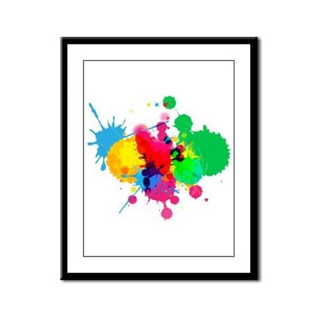 Abstract Paint Splatters Framed Panel Print