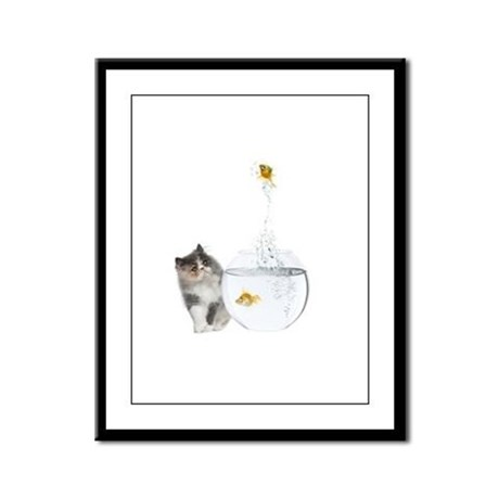 Cute Kitten and Goldfish Framed Panel Print