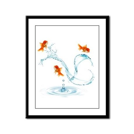 Splashing Fish Framed Panel Print