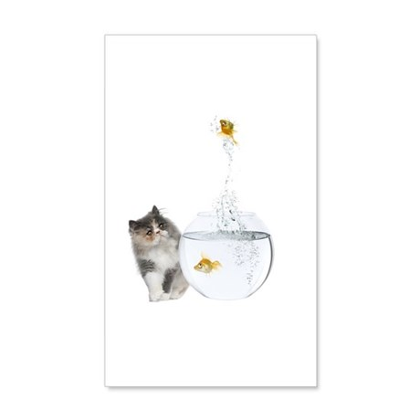 Cute Kitten And Goldfish 35X21 Wall Decal