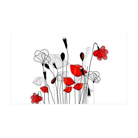 Whimsical Red Poppies 35x21 Wall Decal