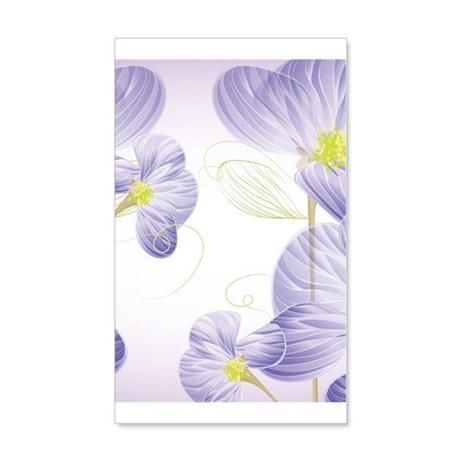 Lavender Sweet Peas Floral 35X21 Wall Decal