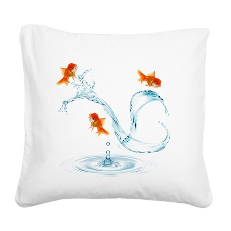Splashing Fish Square Canvas Pillow