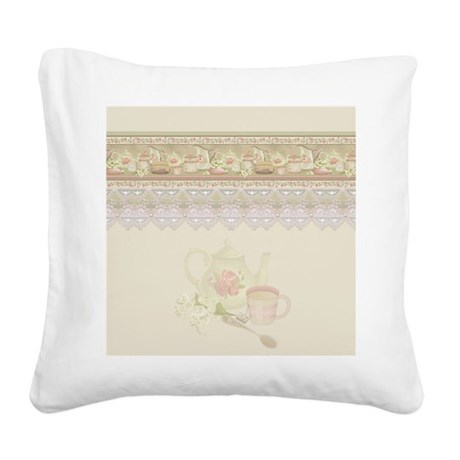 Vintage Tea Square Canvas Pillow