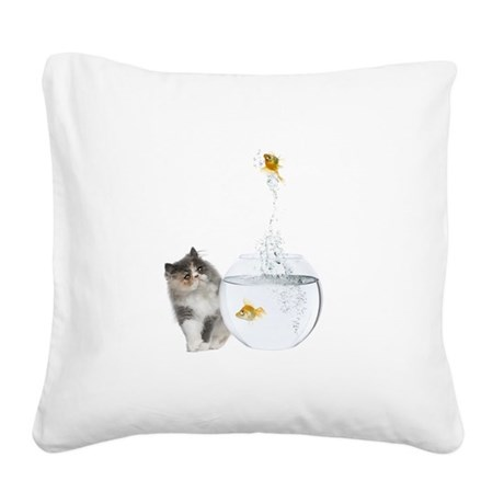 Cute Kitten and Goldfish Square Canvas Pillow