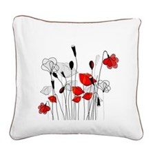 Whimsical Red Poppies Square Canvas Pillow