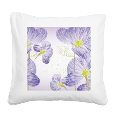 Lavender Sweet Peas Floral Square Canvas Pillow