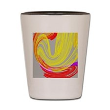 funky retro yellow red abstract art Shot Glass