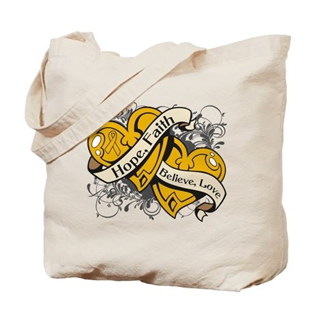 Appendix Cancer Hope Hearts Tote Bag