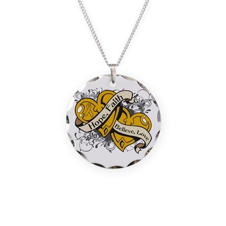 Appendix Cancer Hope Hearts Necklace Circle Charm