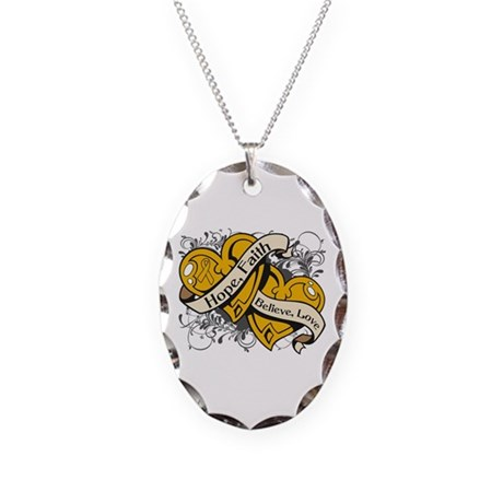 Appendix Cancer Hope Hearts Necklace Oval Charm