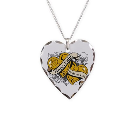Appendix Cancer Hope Hearts Necklace Heart Charm