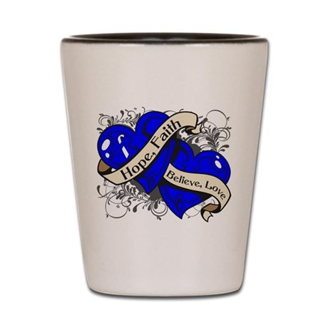ALS Hope Faith Dual Hearts Shot Glass