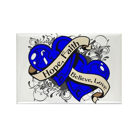 ALS Hope Faith Dual Hearts Rectangle Magnet