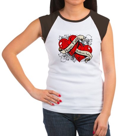 AIDS HIV Hope Hearts Women's Cap Sleeve T-Shirt