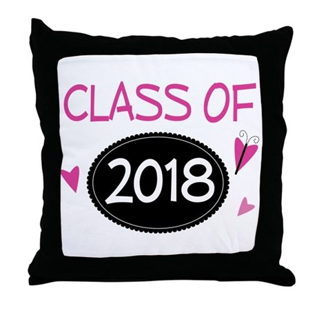 Class of 2018 (butterfly) Throw Pillow