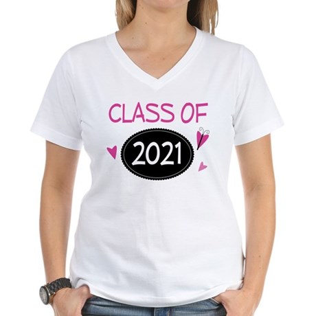 Class of 2021 (butterfly) Women's V-Neck T-Shirt