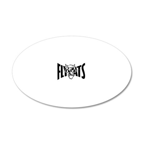 Cat b and w lrg wht 20x12 Oval Wall Decal