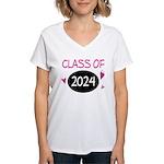 Class of 2024 (butterfly) Women's V-Neck T-Shirt