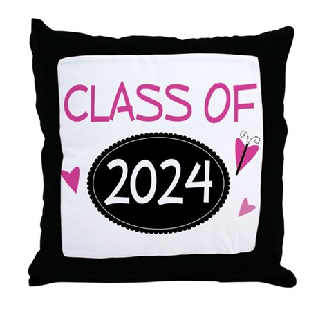 Class of 2024 (butterfly) Throw Pillow