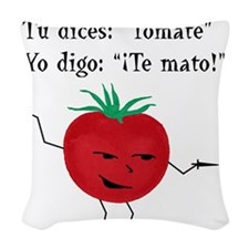 Tomate tomato 6 inch final png Woven Throw Pillow