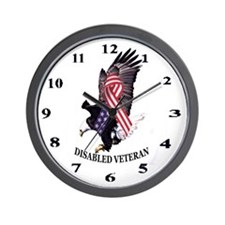 Disabled Veteran Eagle and Ribbon Wall Clock