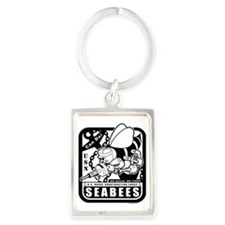 seabees retro black ink Portrait Keychain