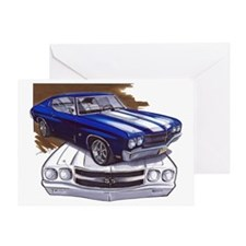 1970 Chevelle Blue-White Car Greeting Card