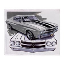 1970 Chevelle Grey-Black Car Throw Blanket