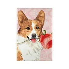 Pembroke Welsh Corgi Rose Rectangle Magnet