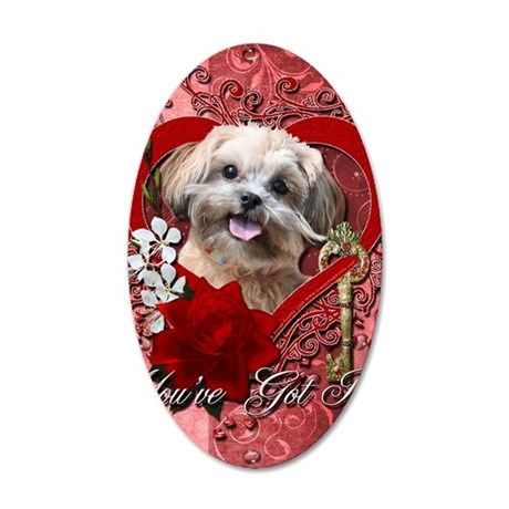 Valentine_Red_Rose_ShihPoo_M 35x21 Oval Wall Decal