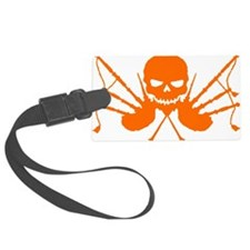 Floating Skull n Pipes Orange Luggage Tag