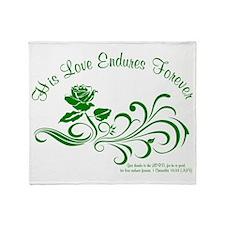 love endures dark green Throw Blanket