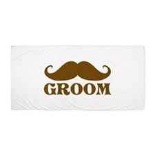 Groom Mustache Beach Towel