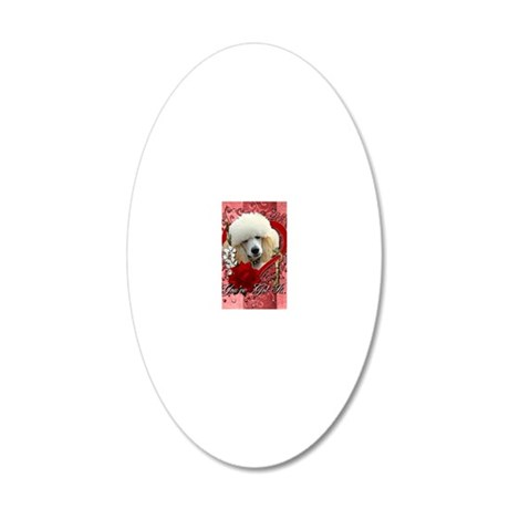 Valentine_Red_Rose_Poodle_Ap 20x12 Oval Wall Decal