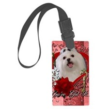 Valentine_Red_Rose_Maltese Luggage Tag