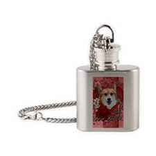 Valentine_Red_Rose_Corgi_Owen Flask Necklace
