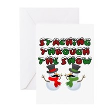 Staching through the snow Greeting Cards