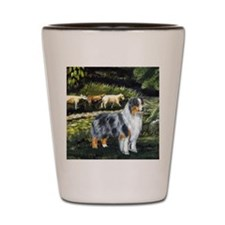 aussie blue merle w sheep Shot Glass